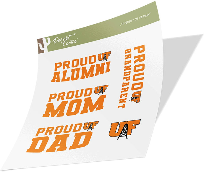 University of Findlay UF Oilers NCAA Sticker Vinyl Decal Laptop Water Bottle Car Scrapbook (Family Full Sheet)