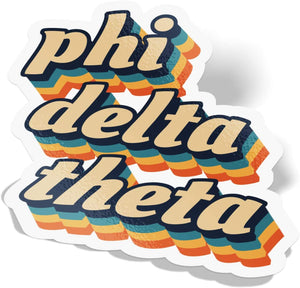 Phi Delta Theta 70's Letter Sticker Decal Greek Tall for Window Laptop Computer Car Phi Delt