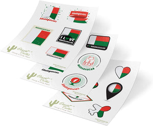 Madagascar Country Flag Stickers Decals Kids Logo Scrapbook Car Vinyl Window Bumper Laptop (3 Sheets)