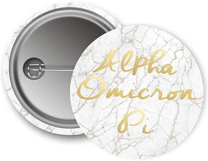 Alpha Omicron Pi Sorority Button Light Marble with Gold Script Pin Back Badge 2.25-inch Button aoii