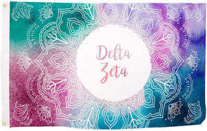 Delta Zeta Mandala Water Color Sorority Flag Greek Letter Banner Large 3 feet x 5 feet Sign Decor dz (Flag - Mandala)