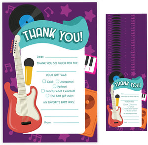 Rockstar Fill In Thank You Cards (25 Count) With Envelopes Bulk Birthday Party Kids Children Boy Girl (25ct. Fill Thank You)