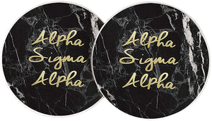 Alpha Sigma Alpha Sorority Absorbent Sandstone Car Cup Coaster (Set of 2) Licensed Product ASA (Dark Marble)