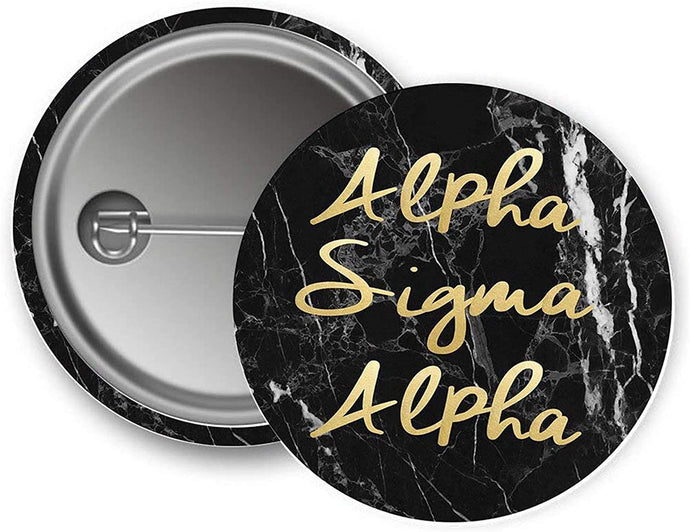 Alpha Sigma Alpha Sorority Button Dark Marble with Gold Script Pin Back Badge 2.25-inch Button ASA