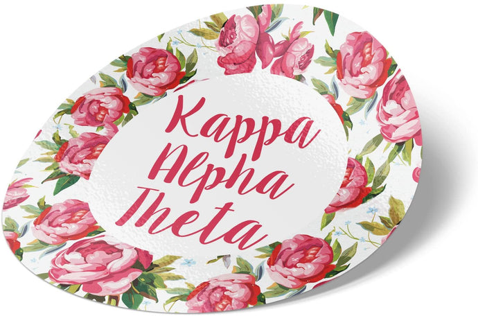 Kappa Alpha Theta 3 Inch Circle White Rose Sorority Sticker Decal Exclusively Designed Greek for Window Laptop Computer Car