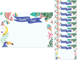 Tropical Hawaiian Thank You Cards (10 Count) With Envelopes Bulk Birthday Party Bridal Blank Graduation Kids Children Boy Girl Baby Shower (10ct. You)