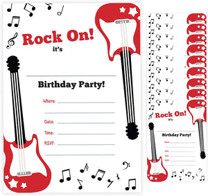 Guitar Style 2 Happy Birthday Invitations Invite Cards (10 Count) With Envelopes Boys Girls Kids Party (10ct)