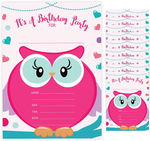 Owl Style 2 Happy Birthday Invitations Invite Cards (10 Count) With Envelopes Boys Girls Kids Party (10ct)