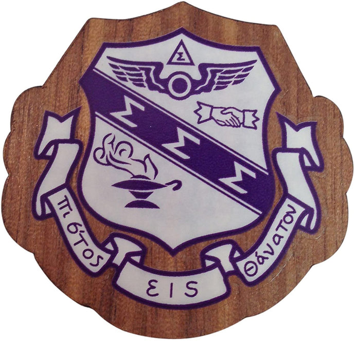 Sigma Sigma Sigma Wood Wooden Crest Paddle Mascot Board tri-sigma (1.5 Inch Tall Single Raised)