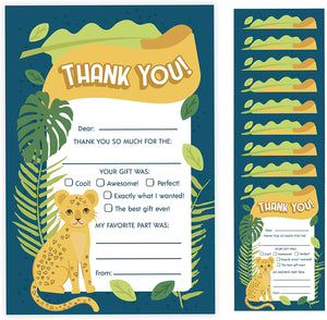 Cheetah Thank You Cards (10 Count) With Envelopes Bulk Birthday Party Bridal Blank Graduation Kids Children Boy Girl Baby Shower (10ct. Fill-In Thank You)