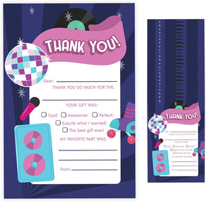 80's Fill In Thank You Cards (25 Count) With Envelopes Bulk Birthday Party Kids Children Boy Girl (25ct. Fill Thank You)