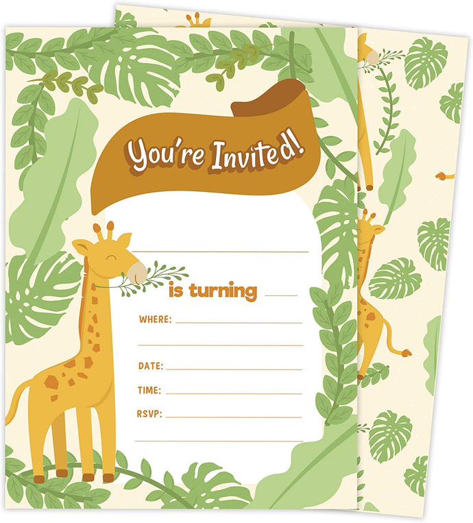 Giraffe Design 1 Happy Birthday Invitations Invite Cards (25 Count) With Envelopes and Seal Stickers Vinyl Girls Kids Party (25ct)