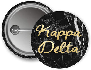 Kappa Delta Sorority Button Dark Marble with Gold Script Pin Back Badge 2.25-inch Button KD