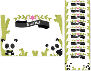 Panda Thank You Cards (10 Count) With Envelopes Bulk Birthday Party Bridal Blank Graduation Kids Children Boy Girl Baby Shower (10ct. Thank You)