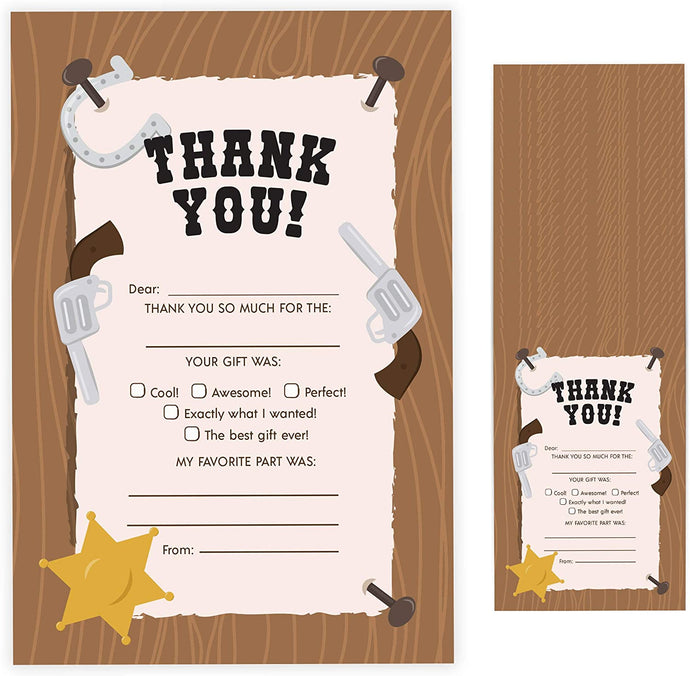 Western Fill In Thank You Cards (25 Count) With Envelopes Bulk Birthday Party Kids Children Boy Girl (25ct. Fill Thank You)