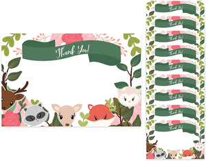 Woodland Animals Thank You Cards (10 Count) With Envelopes Bulk Birthday Party Bridal Blank Graduation Kids Children Boy Girl Baby Shower (10ct. Thank You)