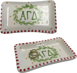 Alpha Gamma Delta Sorority Trinket Tray Ring Dish Made of Ceramic Material Letters Alpha Gam