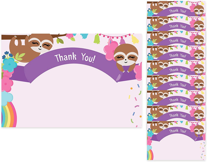 Sloth Thank You Cards (10 Count) With Envelopes Bulk Birthday Party Bridal Blank Graduation Kids Children Boy Girl Baby Shower (10ct. Thank You)