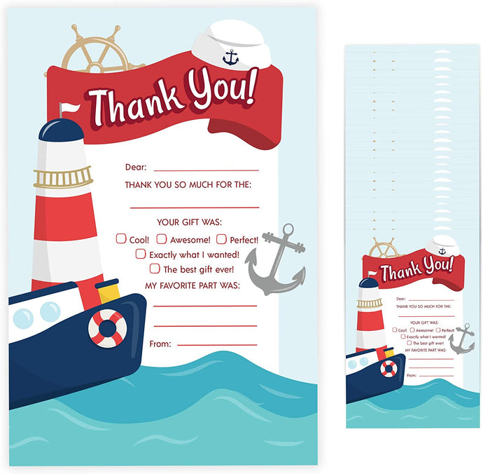 Sailor Fill In Thank You Cards (25 Count) With Envelopes Bulk Birthday Party Kids Children Boy Girl (25ct. Fill Thank You)