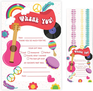 70's Fill In Thank You Cards (25 Count) With Envelopes Bulk Birthday Party Kids Children Boy Girl (25ct. Fill Thank You)