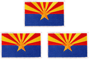 Arizona AZ Flag Patch Bulk 3-Pack 3.5Wx2.25H State Iron On Sew Embroidered Tactical Morale Back Pack Hat Bags (3-Pack Patch)