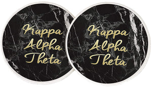 Kappa Alpha Theta Sorority Absorbent Sandstone Car Cup Coaster (Set of 2) Licensed Product (Dark Marble)