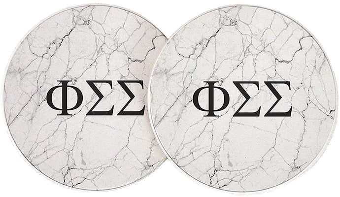 Phi Sigma Sigma Sorority Absorbent Sandstone Car Cup Coaster (Set of 2) Licensed Product (Light Marble)