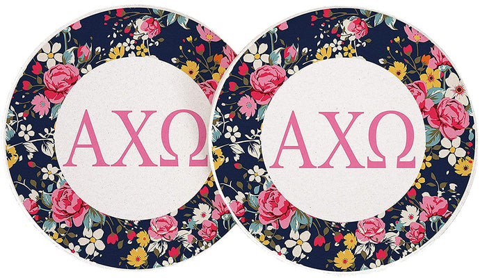 Alpha Chi Omega Sorority Absorbent Sandstone Car Cup Coaster (Set of 2) a chi o (Floral Letter)