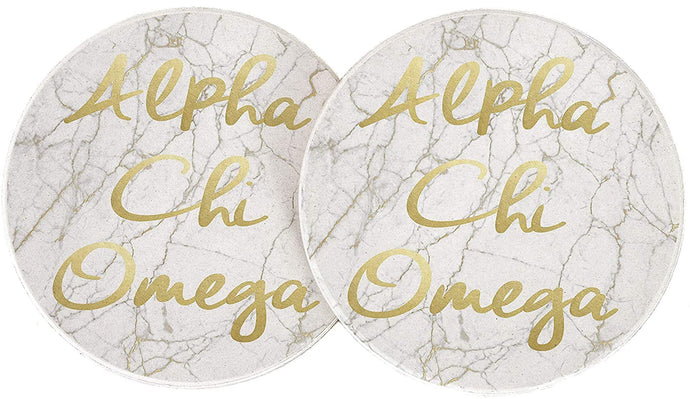 Alpha Chi Omega Sorority Absorbent Sandstone Car Cup Coaster (Set of 2) a chi o (Light Marble Gold Script)