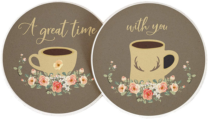 Coffee Drink A Great Time With You Absorbent Sandstone Car Cup Coaster (Set of 2)