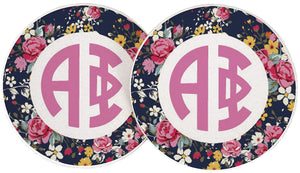 Alpha Phi Sorority Absorbent Sandstone Car Cup Coaster (Set of 2) Licensed Product A Phi (Floral Monogram)