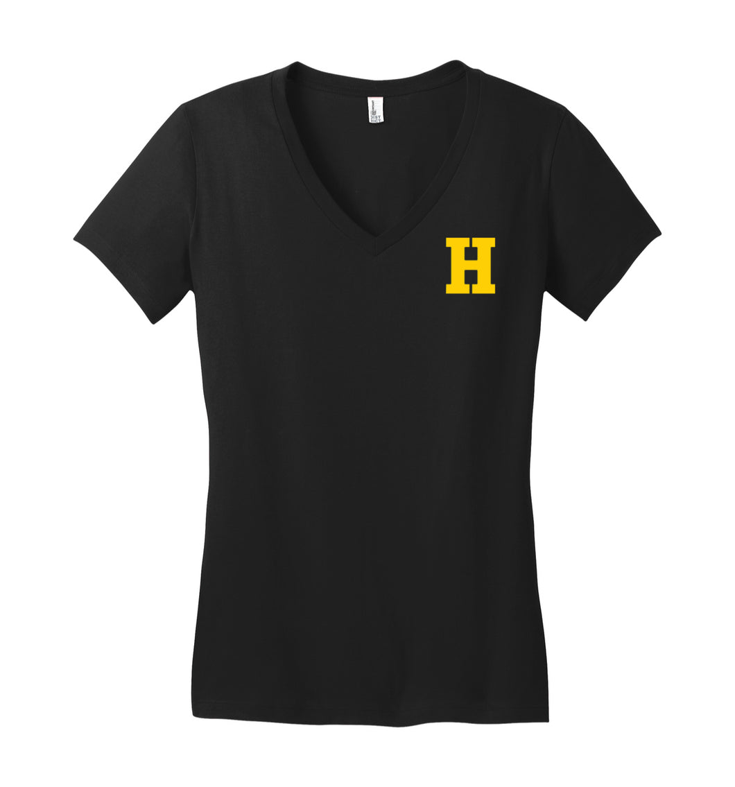 Hampton Central Gold Hat - DT6501 Black Juniors V-Neck