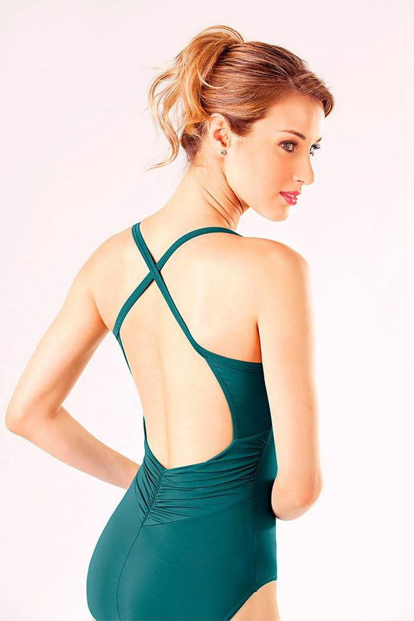 Ladies Leotard with Low Back Ruching Detail