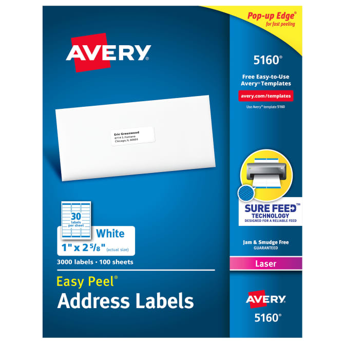 Avery,Label,1x2-5/8,White