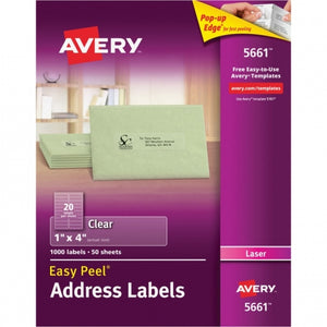 Avery,Label,1 x 4.125,Laser,(100 sheet)