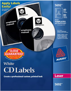 Avery,Label,CD/DVD,Laser,20 Sheet/PK,White
