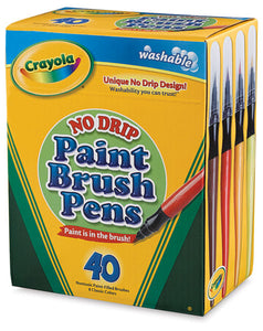 Crayola No Drip Paint Brush Pen 40 in a Box