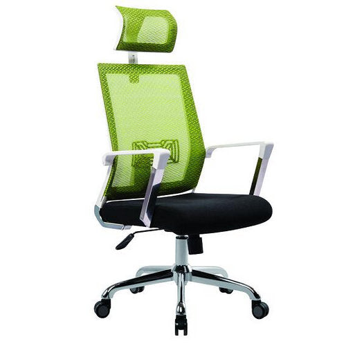 Meshback Office Chair with Head Rest Green and Black