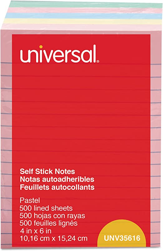 Universal,Pad,S-ST4X6,5PK,Assorted Colors