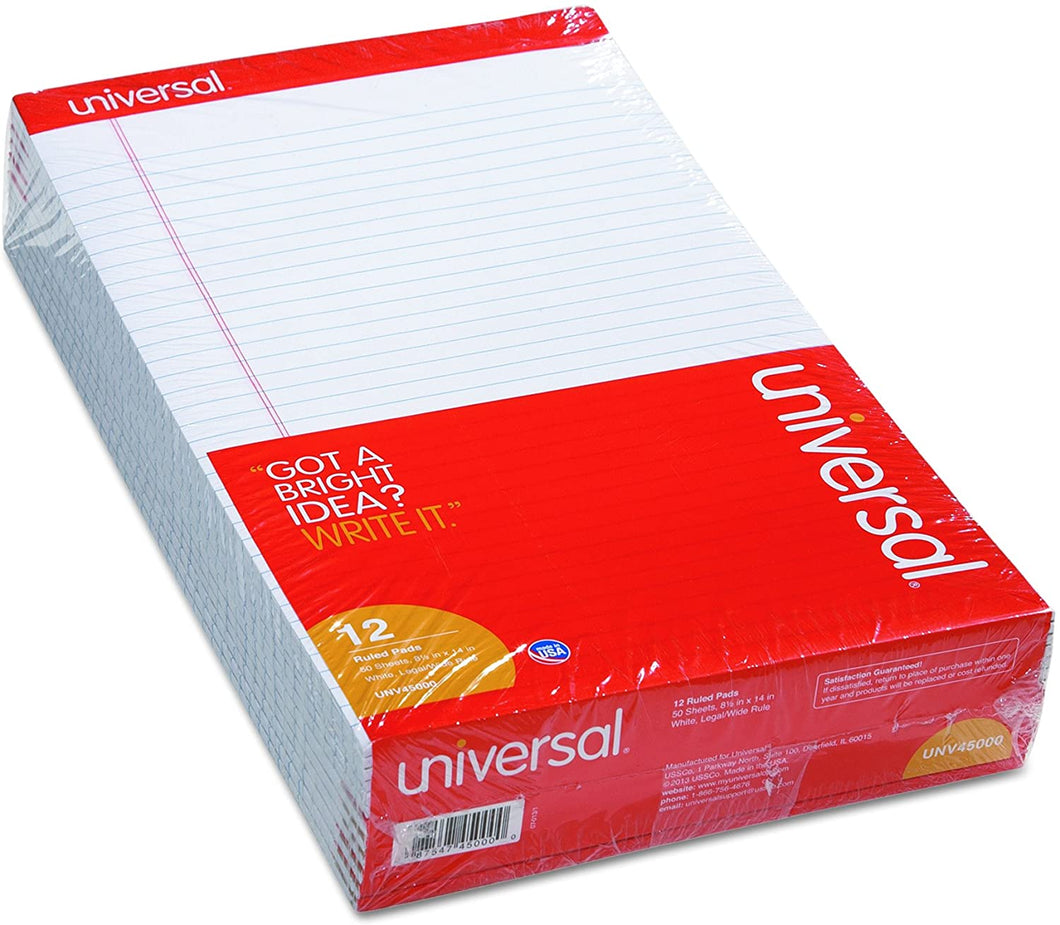 Universal,Pad,8.5x14,Ruled,Legal,50 Sheets,White