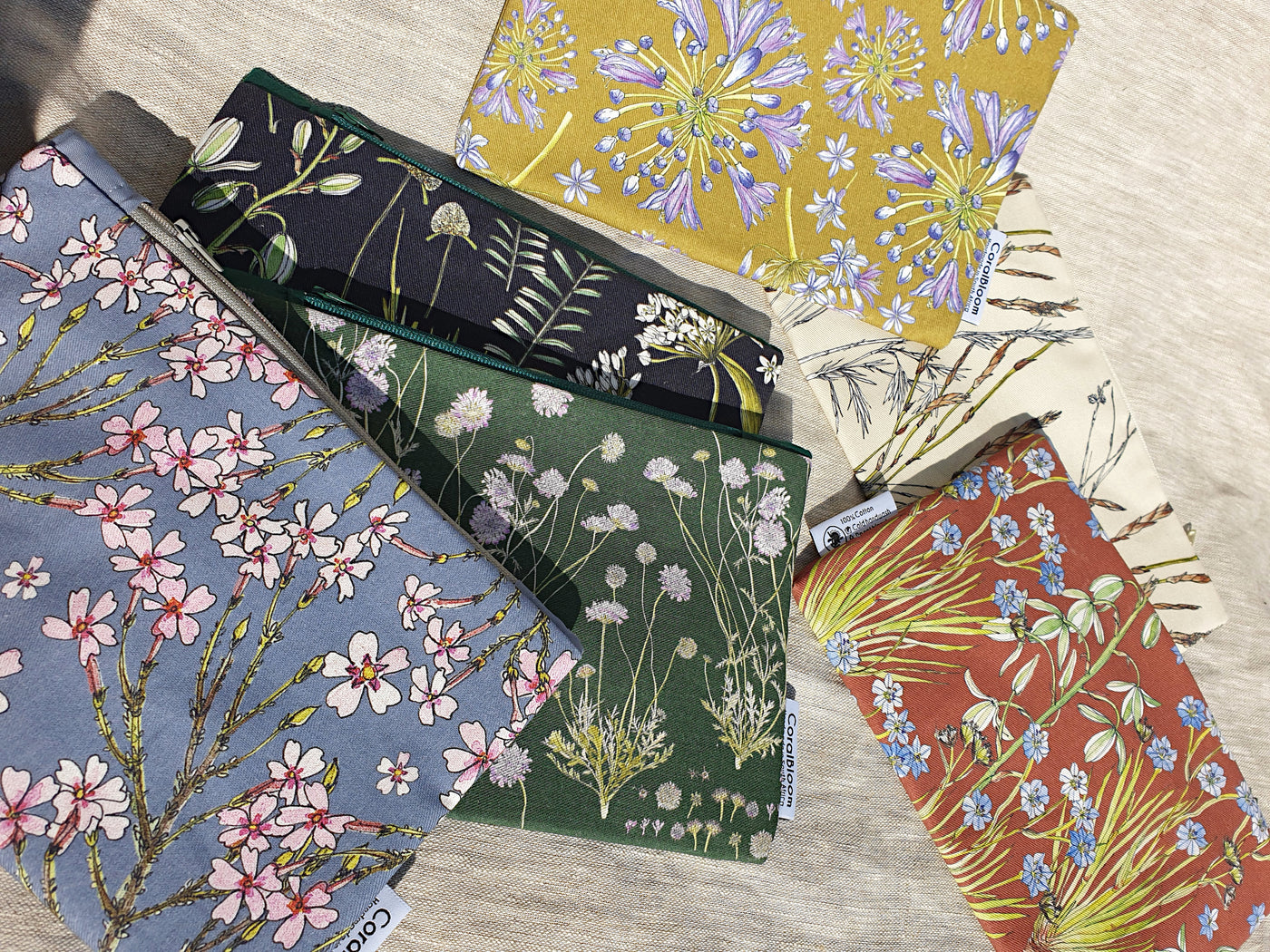 CoralBloom accessory zip bags and floral zip pouches