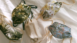 CoralBloom handmade face masks - triple layer with integrated wire and beautiful fynbos botanical prints on 100% cotton