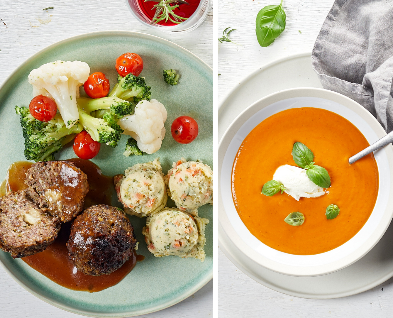 Menu comfort food: tomatensoep en malse mozzarella meatballs
