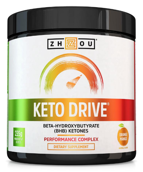 Zhou Nutrition Keto Drive Performance Complex provides BHB ketones for ketosis, energy and focus support.