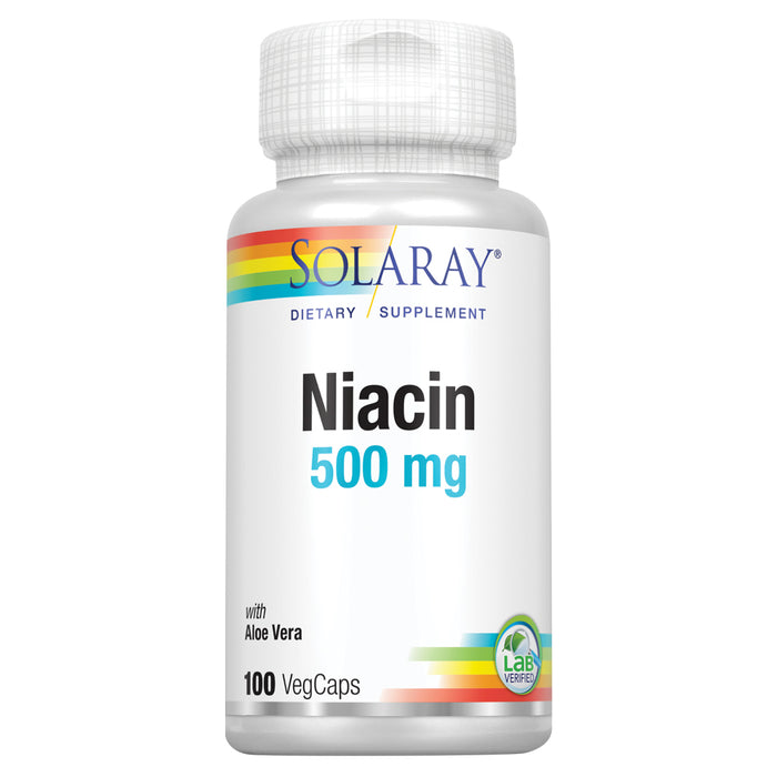 Solaray Niacin 500 mg, Vitamin B3 | Skin Health, Cardiovascular, Nervous System & Circulation Support | 100ct