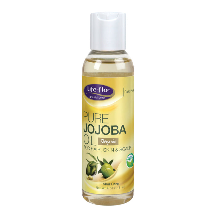 Life-flo Pure Jojoba Oil, Organic | Moisturizer and Nutrient for Dry Hair, Scalp, Skin, Nails & Cuticles | 4oz