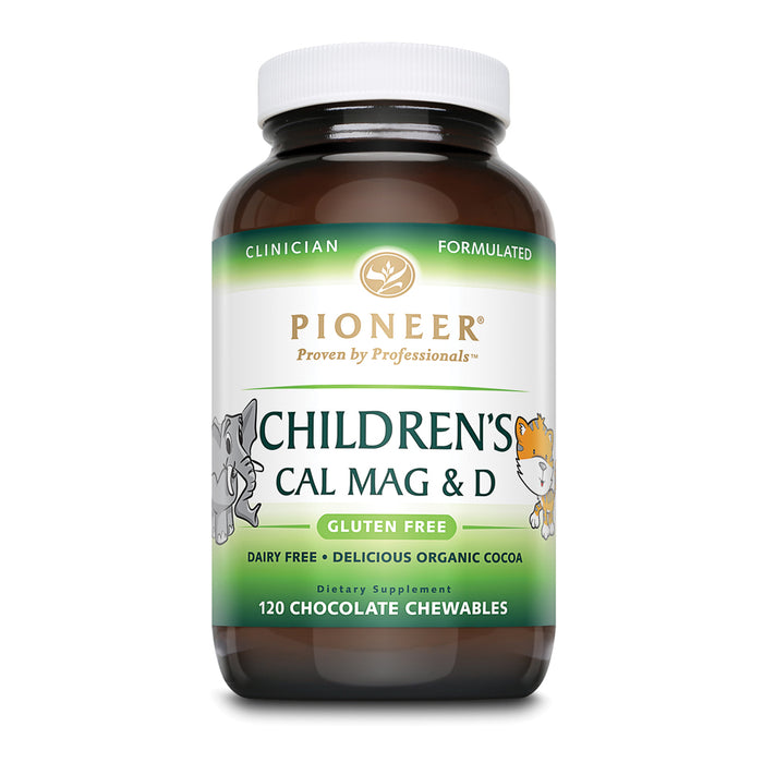 Pioneer Cal Mag & Vitamin D Chewable for Children | Chocolate Flavor from Organic Cocoa | No Sugar, Dairy or Gluten | 120 Count