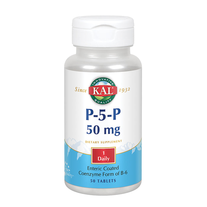 KAL P-5-P Activated Vitamin B6 | Healthy Red Blood Cell Synthesis & Nerve Function Support | Enteric Coated | 50 Tablets