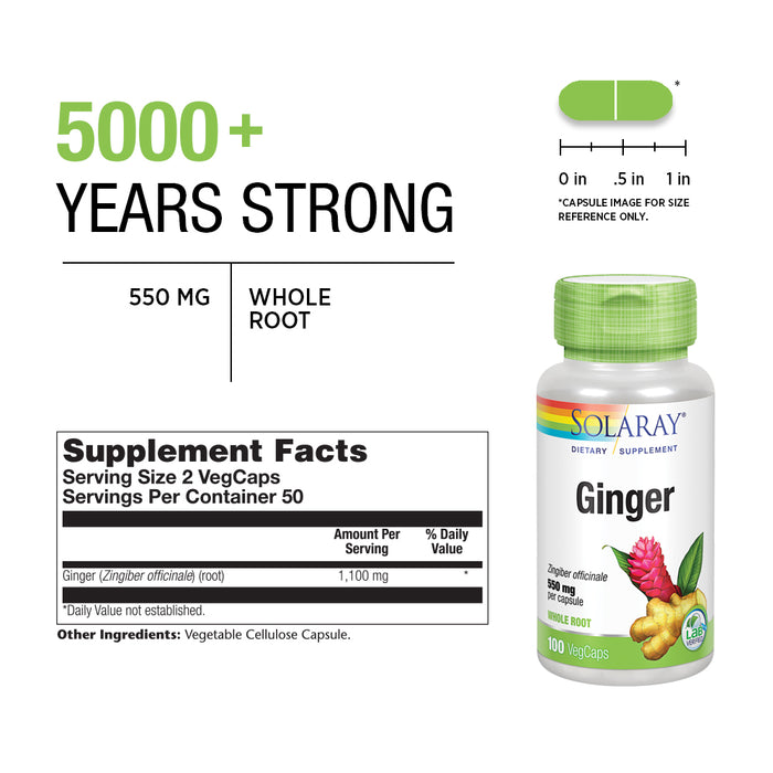 Solaray Ginger Root 550mg | Healthy Digestion, Joints and Motion & Stomach Discomfort Support | Whole Root | Non-GMO & Vegan | 100 VegCaps