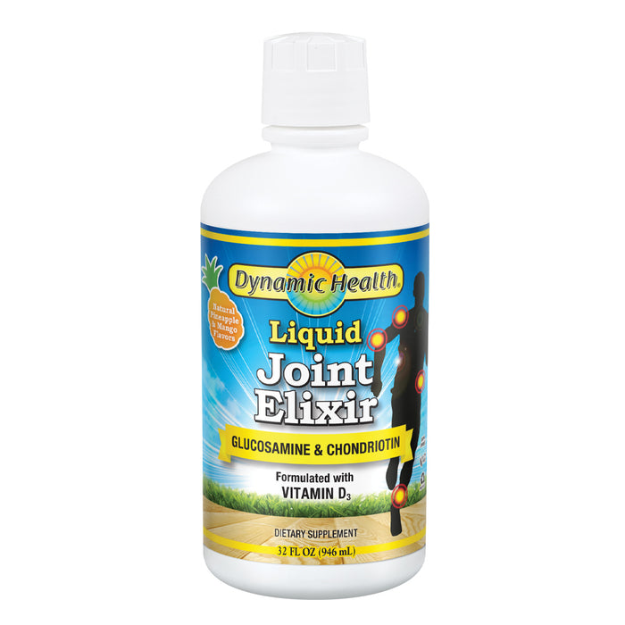 Dynamic Health Liquid Joint Elixir | 1500 mg Glucosamine & Chondroitin per serving | For Joint Health & Pain Relief | W/ Vitamin D3 | 32oz, 32 Serv